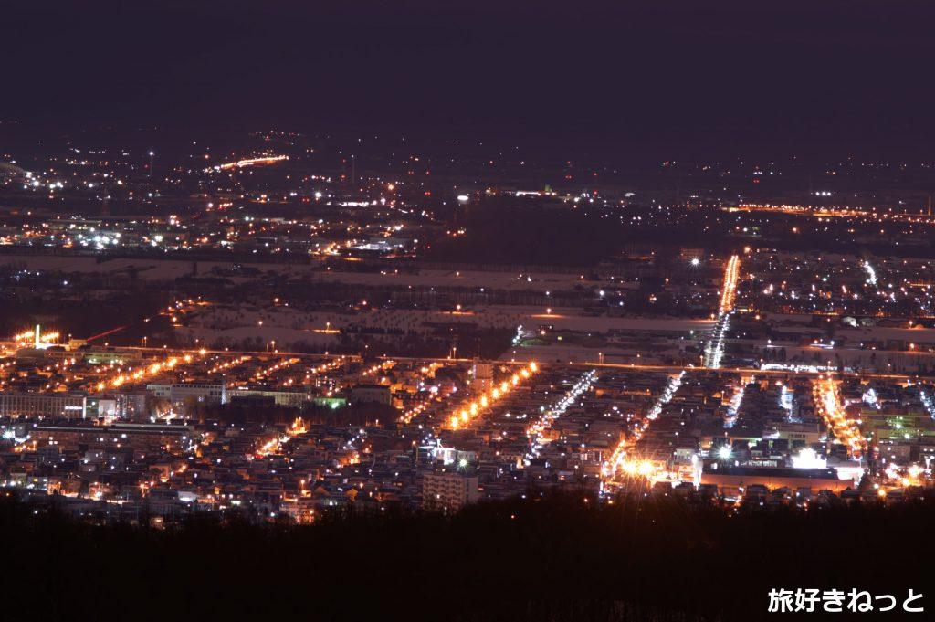冬の手稲橋から夜景を撮影してきた