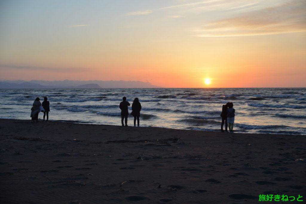 あそびーち石狩の夕日撮影